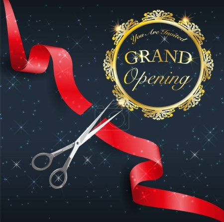 grand opening, cutting red tape