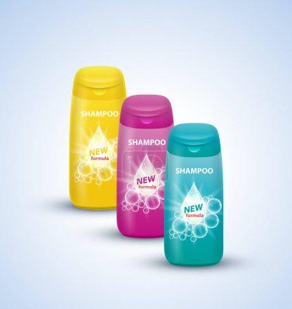 Illustration pour Ensemble de bouteilles de shampooing d'emballage. Illustration vectorielle - image libre de droit