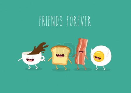 Funny breakfast food, vector illustration...