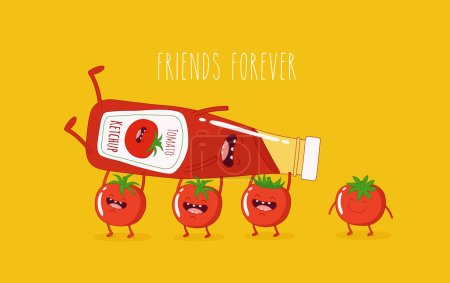 Funny ketchup and tomatoes