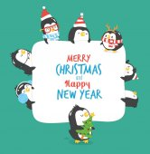 Penguins Happy New Year card