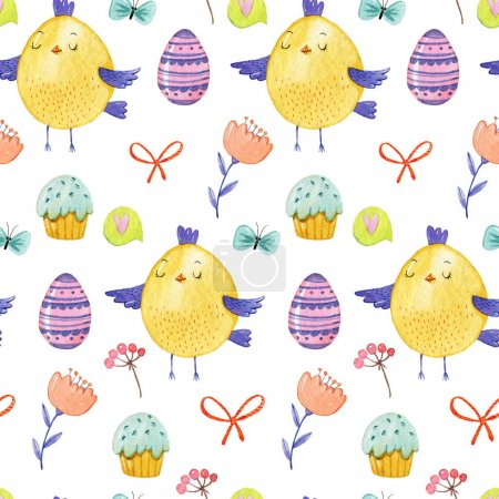 Watercolor hand drawing pattern with cute yellow chickens, flowers, easter muffins, eggs, bows and branches on white background.