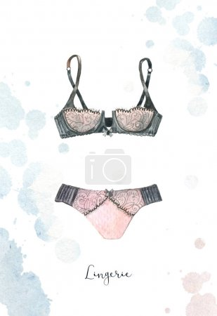 Watercolor fashion illustration, sexy lady underwear, lace bra and panty.