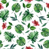 Seamless hand drawn tropical watercolor pattern with flowers and exotic palm leaves on white background.