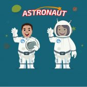 Astronaut male and female - vector