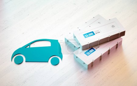 Photo for Li-Ion electric vehicle battery concept. Car symbol with EV batteries on wooden desk. 3d rendering. - Royalty Free Image