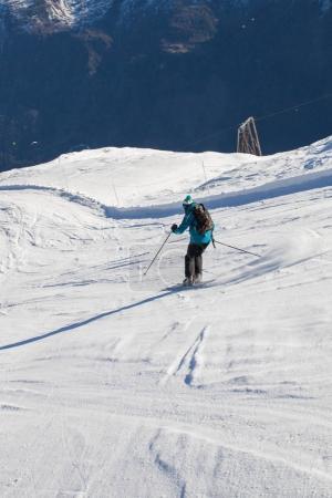 Skier on slope in Frech Alps