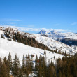 Panoramic view of Italian Dolomites in winter day...