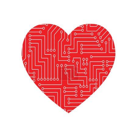 heart love technology concept design für valentine. ein Konzept der Informationstechnologie Logo. Vektor Leiterplattenherz. Computerherz mit Motherboard-Elementen für Technologie-Konzeption.