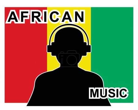 african music concept with a silhouette of a man with headphones and flag in background
