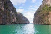 emerald sea and rock.