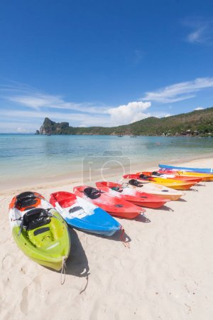 Colorful kayaks on the tropical beach, Thailand