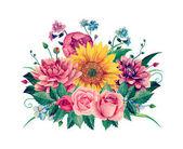 Watercolor floral bouquet clipart Handpainted flowers clip art