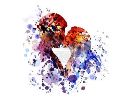 Illustration for Watercolor silhouette of kissing people. Vector illustration - Royalty Free Image