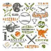 Icons and badges set of baseball team Graphic design for t-shirt Color print on white background