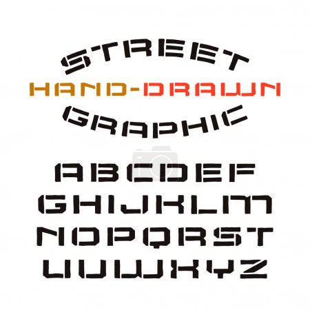 Stencil-plate font in the style of handmade graphics