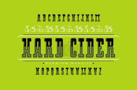 Decorative serif font and hard cider label