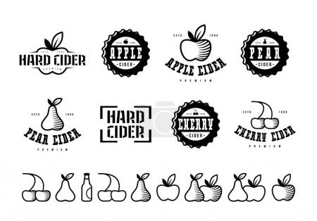 Set of hard cider label, logo and icons