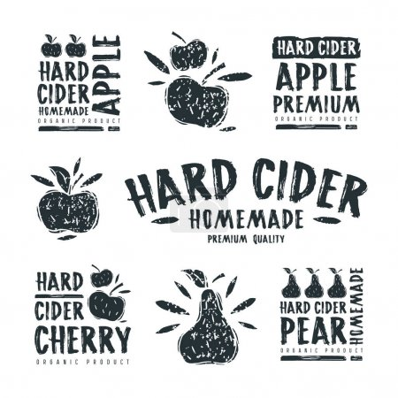 Set of hard cider label and logo
