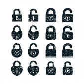Set of locks icons Design with rust texture Open and closed black silhouette on white background