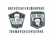 Narrow serif font and air force emblems Letters and numbers with rust texture for logo and t-shirt design Black print on white background