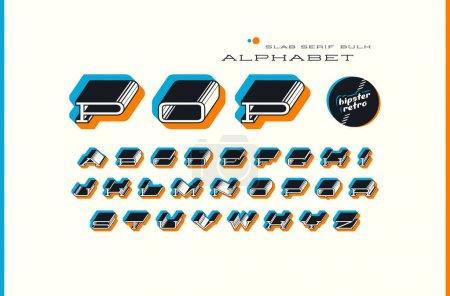 Ilustración de Fuente prolongada de la a granel serif de la losa decorativa. Diseño de letras en un fondo de color cambiado de puesto - Imagen libre de derechos