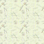 seamless pattern of graphic tools charts graphs on paper yellow