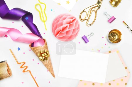 Glamour style background, flat lay. Gold and party items