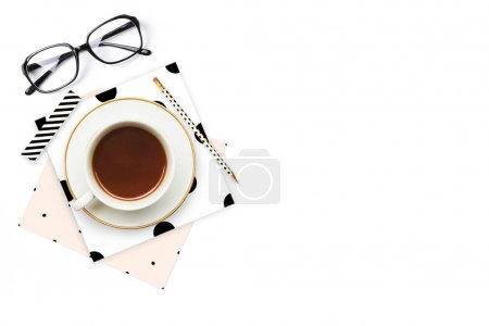 Photo for Woman desktop elegant. Coffee cup and items on the table. Mock-up for artwork .View from above. Flat lay. - Royalty Free Image
