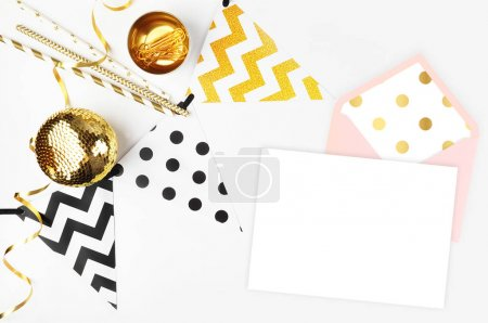 Photo for Party background. Decor table view. Flat Lay. Party mockup. Gold items - Royalty Free Image