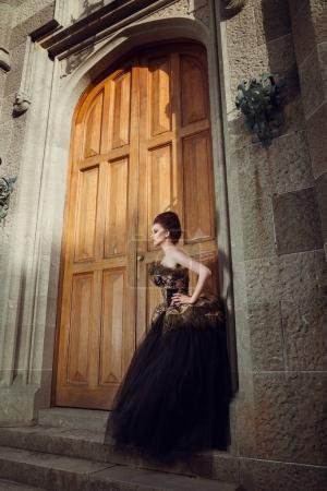 Gorgeous Woman in Evening retro dress