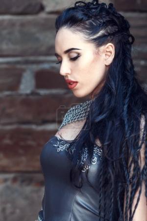 beautiful furious scandinavian warrior woman