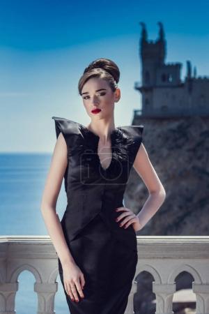 model girl on background of castle
