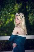 girl with wreath on hair