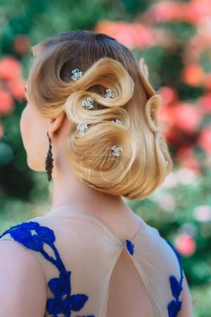 blonde girl with stylish hairstyle
