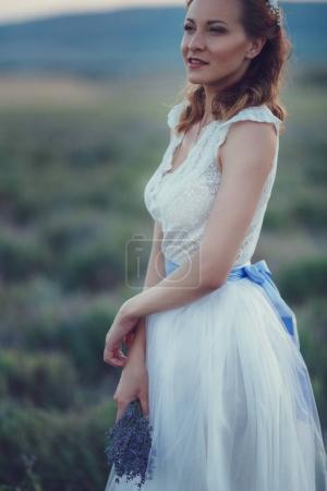romantic woman in field