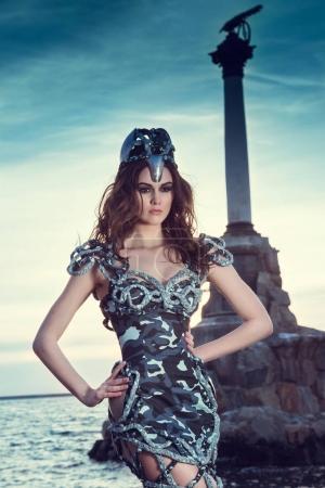 fantasy girl in gray dress