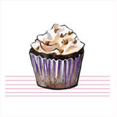 Watercolor cupcakes Hand drawn retro style Vector illustration