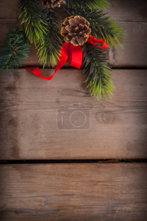 fir tree branch with Christmas decoration