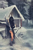 someone in a gas mask sitting around the hut with tongs in hands -illustration