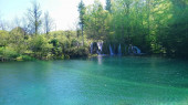 Croatia. Plitvice Lakes. Beautiful waterfalls and lakes inside the forest. colorful water and nature. Power of water