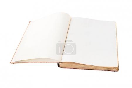 Photo pour Grand livre ouvert vide vintage isolé sur fond blanc - image libre de droit