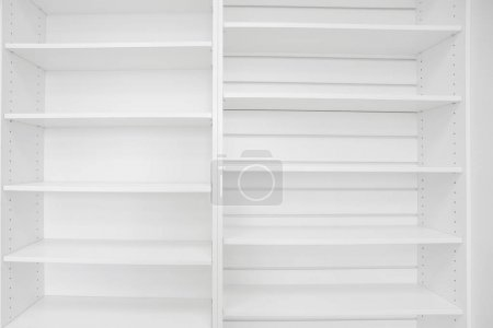 empty white shelves
