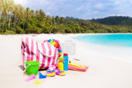 Beach bag with swimming accessories. Sea vacation.