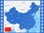The detailed map of China with regions or states and cities capitals With map pins or pointers Place location markers or signs
