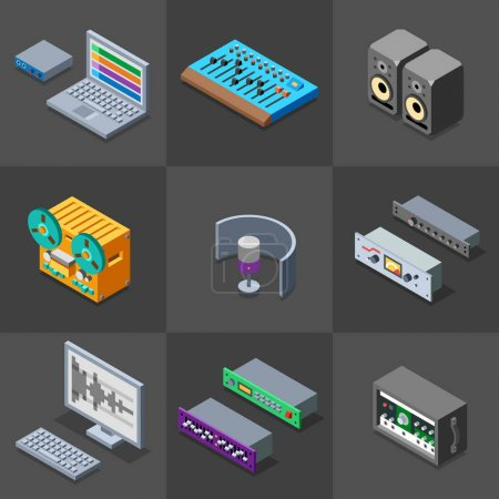 Illustration pour Enregistrement studio objets ensemble, illustration vectorielle - image libre de droit