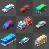 3d vehicles colorful set vector illustration