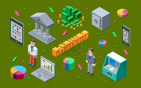 Illustration for Banking objects set, vector illustration - Royalty Free Image
