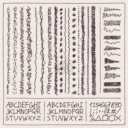 Illustration for Doodle squiggles alphabet set, vector illustration - Royalty Free Image