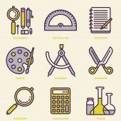 School Stationery Retro Icon Set